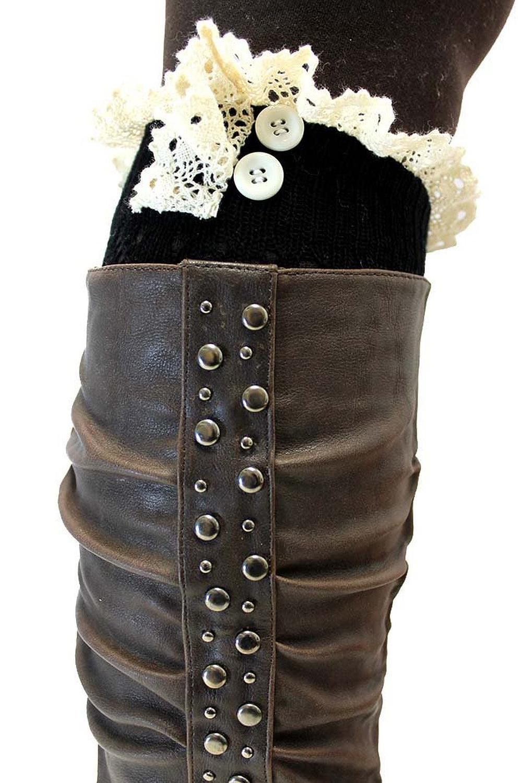 SODIAL(R)Tricot Bottes Manchons Doublure Avec bordure en dentelle Rose iCe0lsMd
