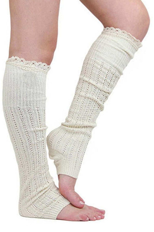 HE519 Womenu0026#39;s Winter Crochet Leg Warmers Knit White/Khaki/Black/Grey | EBay