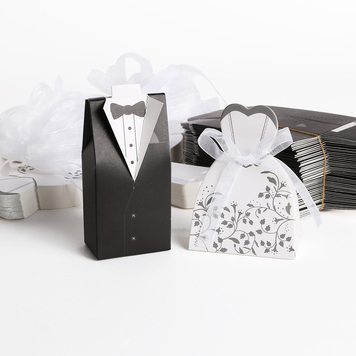 Black And White Dress Favor Boxes: White gown favor boxes hortense b ...