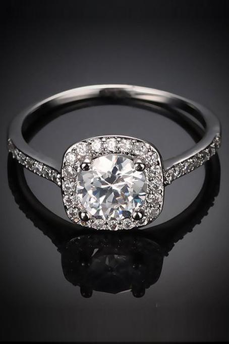 bague femmes cristal bague de fiancailles bijoux de mariage argent wt ebay. Black Bedroom Furniture Sets. Home Design Ideas