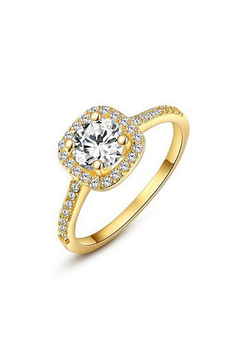 CF503 Women s Crystal Engagement Wedding Jewelry Ring Silver Rose Gold Go