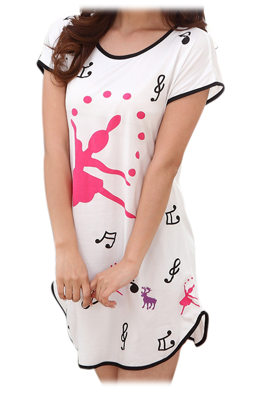 Cartoon women 39 s sleepwear pajamas short sleeve sleep shirt for Sleep shirt short sleeve