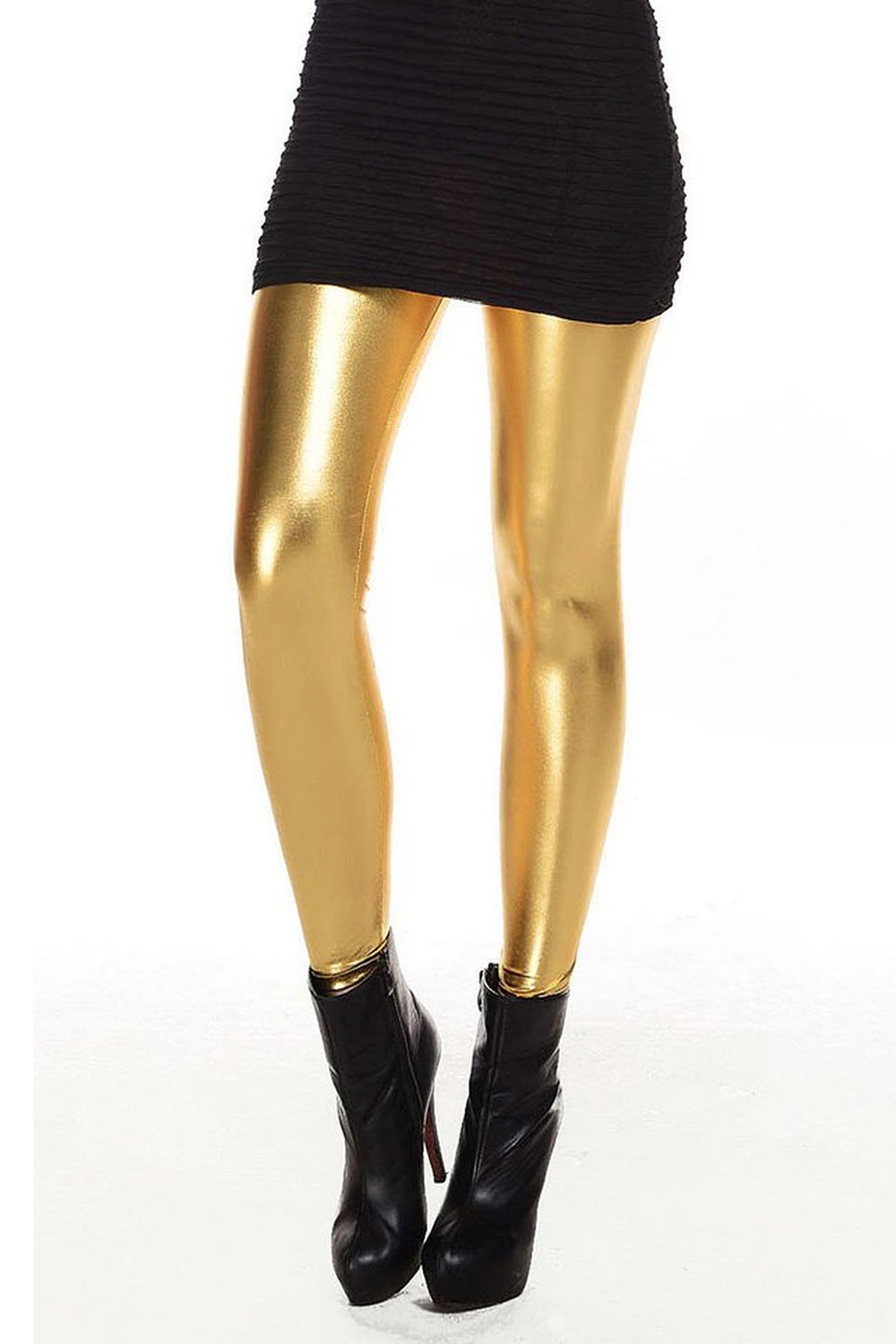 These Women's Gold Lamé Leggings are shiny, stretchy and ready for you to wear out to the party!