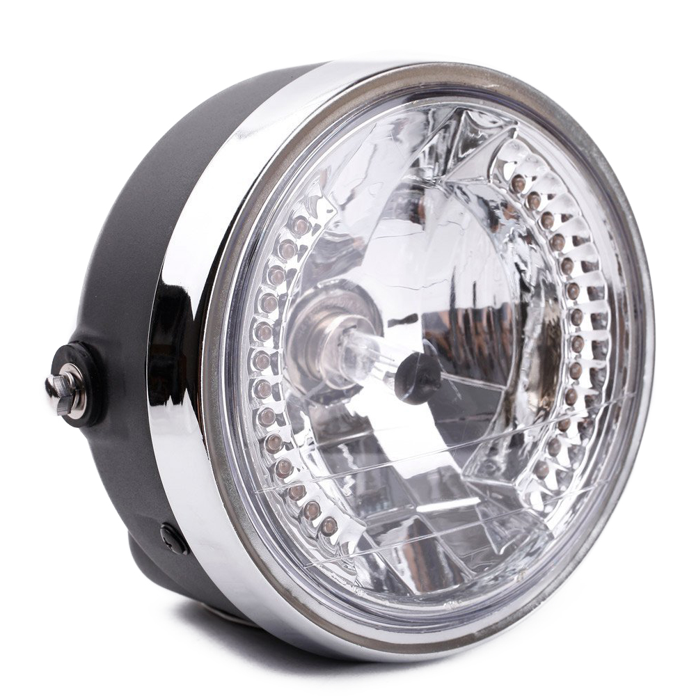 8 halo lampe de moto phare led clignotant avec ampoule h4 pour harley m1 ebay. Black Bedroom Furniture Sets. Home Design Ideas