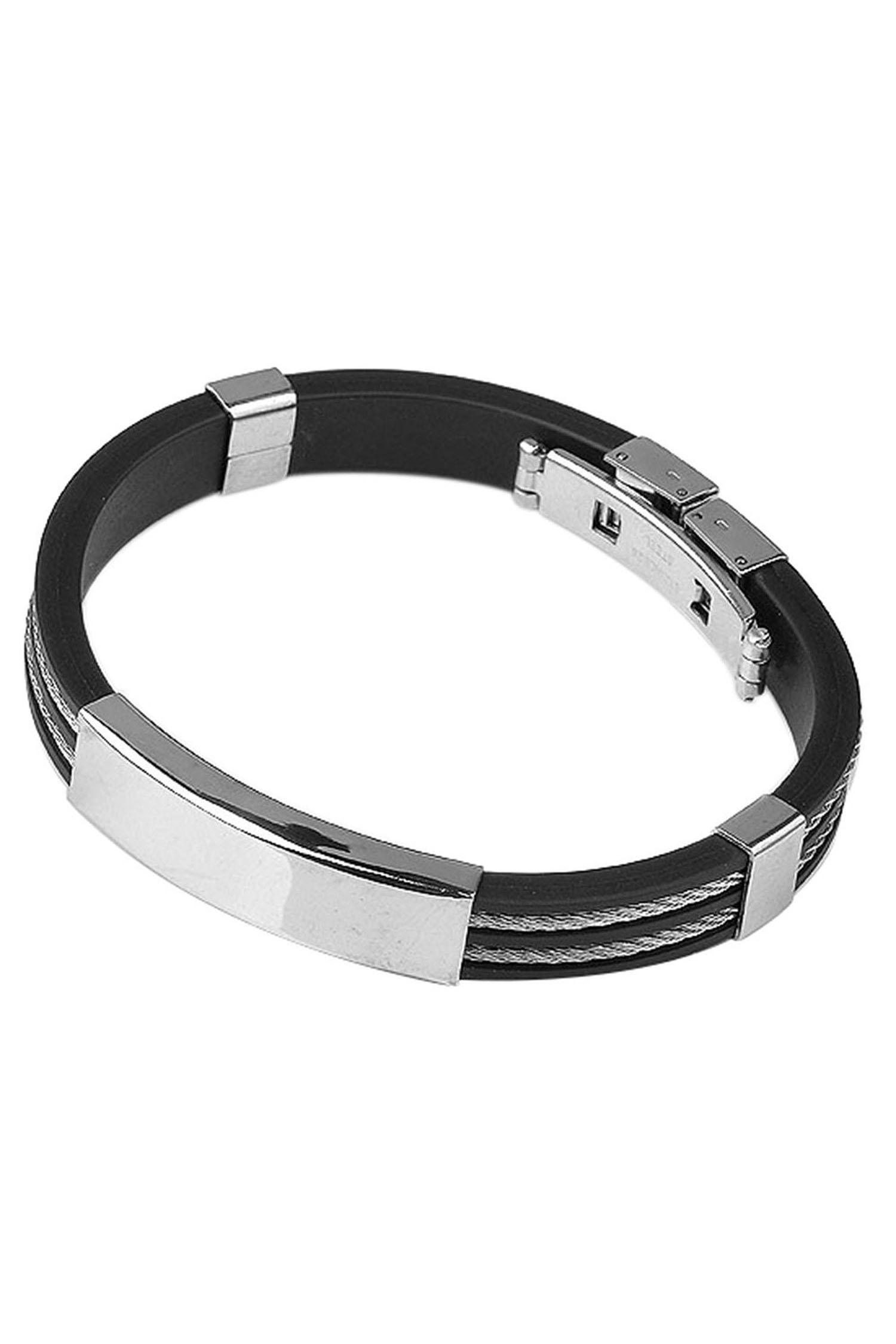 sodial r herren gummi edelstahl armband armreif schmucksache gy. Black Bedroom Furniture Sets. Home Design Ideas