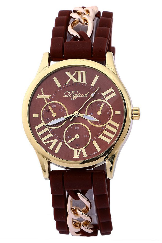 5x golden gehaeuse silikon legierung armband armbanduhr. Black Bedroom Furniture Sets. Home Design Ideas