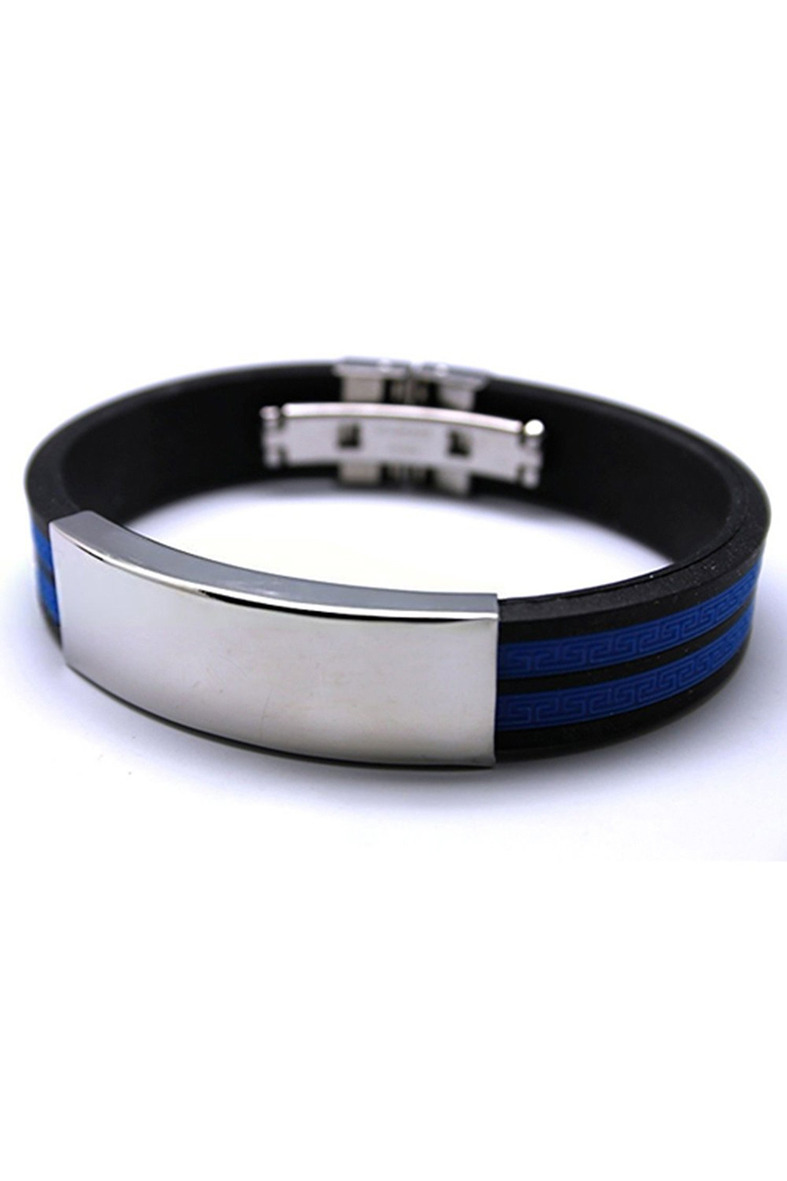 m9 fashion schmuck herren gummi edelstahl armband blau ebay. Black Bedroom Furniture Sets. Home Design Ideas