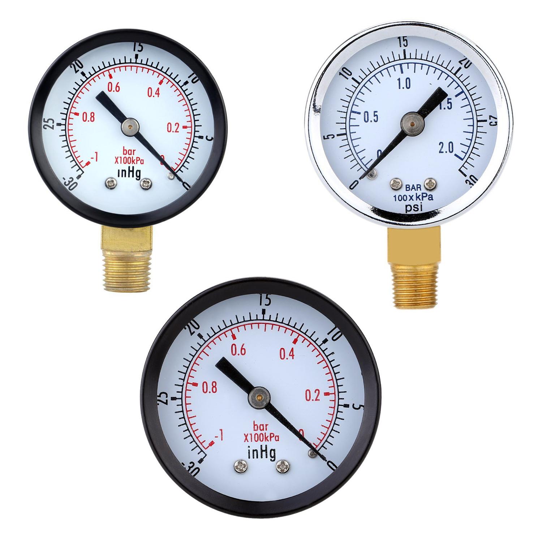 Pressure Gauge - 0 ~ -30inHg 0 ~ -1 bar Mini Dial Air Pressure Gauge Barome Y6S6