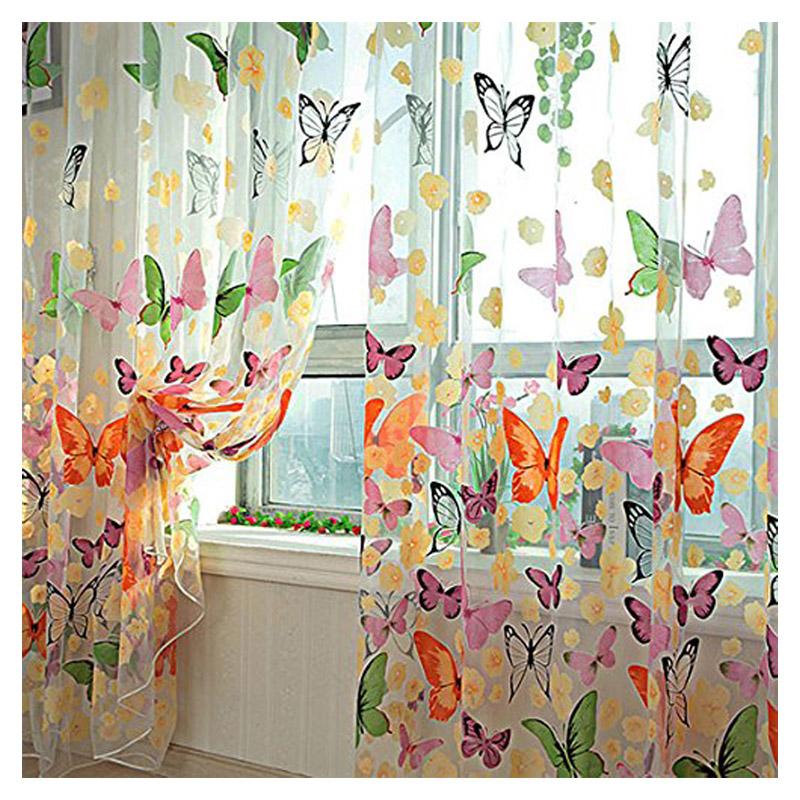 farbige schmetterling gardine transparent vorhang zimmer deko 200 x 100cm gy ebay. Black Bedroom Furniture Sets. Home Design Ideas