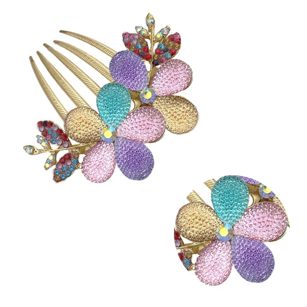 Multi-Color-Womens-Floral-Design-Alloy-Rhinestone-Crystal-Hair-C-Comb-L2Y5