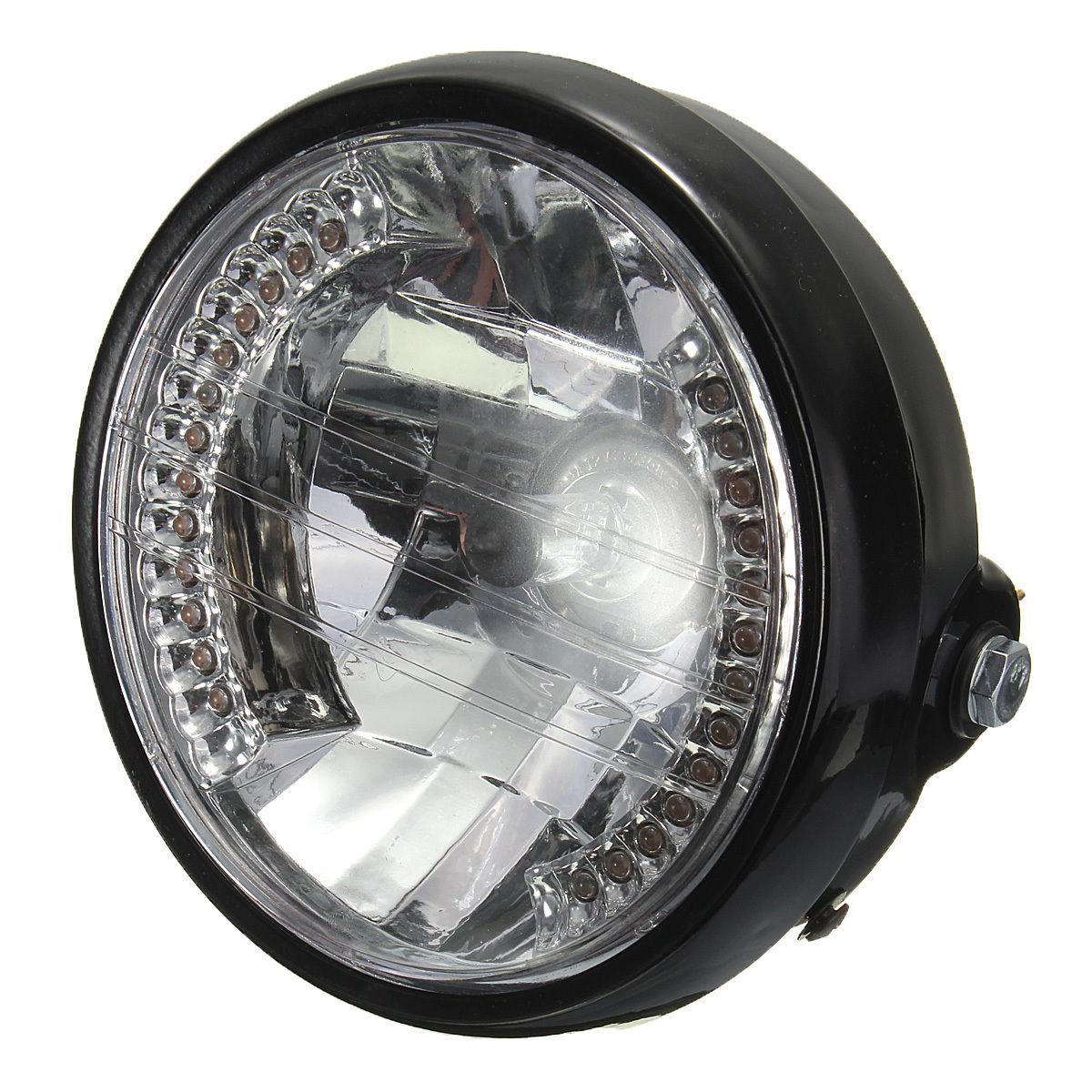 7 pouces phare de moto rond halogene lampe h4 ampoule phare pour harley bobberwt ebay. Black Bedroom Furniture Sets. Home Design Ideas