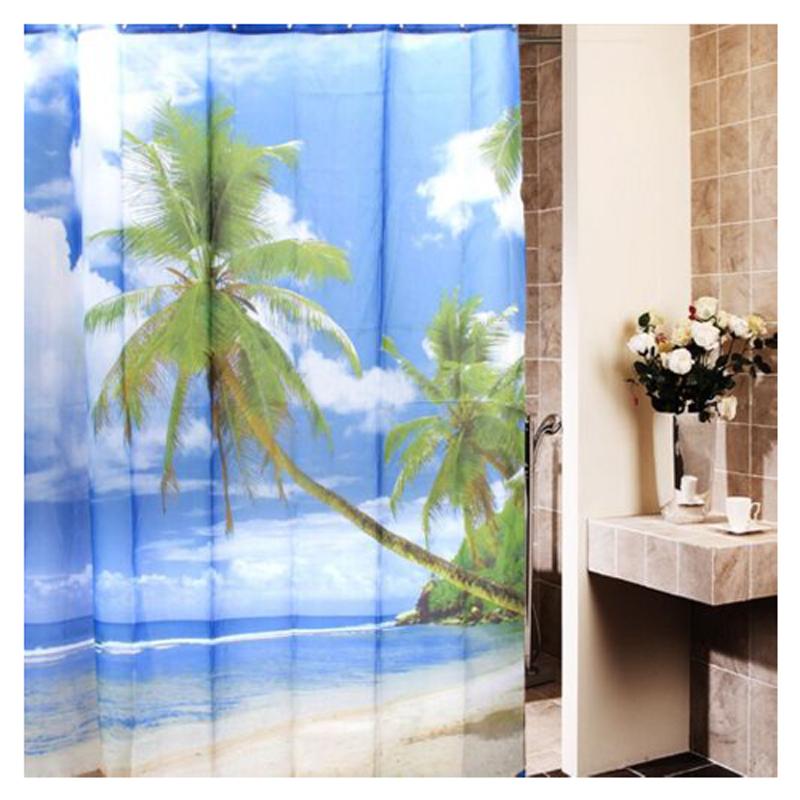 tropical palm tree summer beach polyester shower curtain bathroom decor hooks hy | ebay