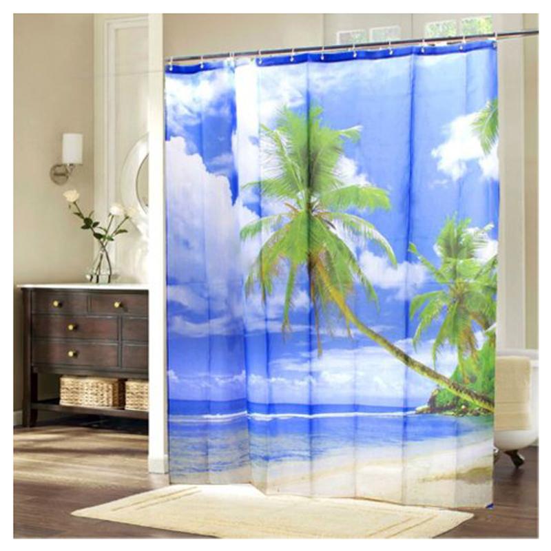Tropical Bathroom Wall Decor: Tropical Palm Tree Summer Beach Polyester Shower Curtain