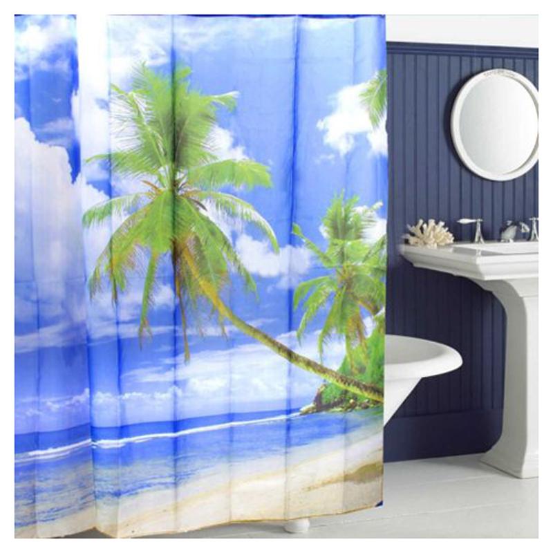 Tropical palm tree summer beach polyester shower curtain for Summer bathroom decor