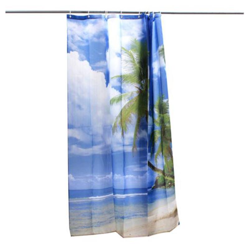 Tropical Palm Tree Summer Beach Polyester Shower Curtain Bathroom Decor W Hooks Ebay