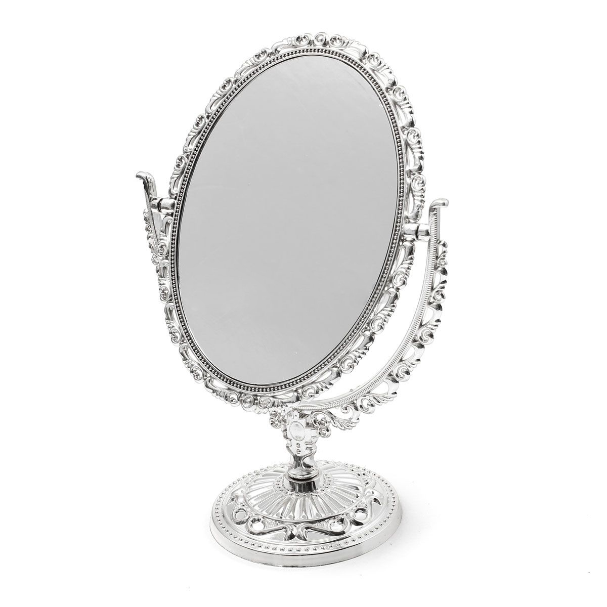 SILVER VANITY MAKE UP COSMETIC TABLE BATHROOM MIRROR ON FOOT STAND ...