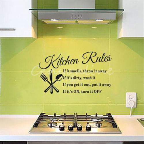 Kitchen Rules Restaurant Wall Sticker Decal Mural DIY Home