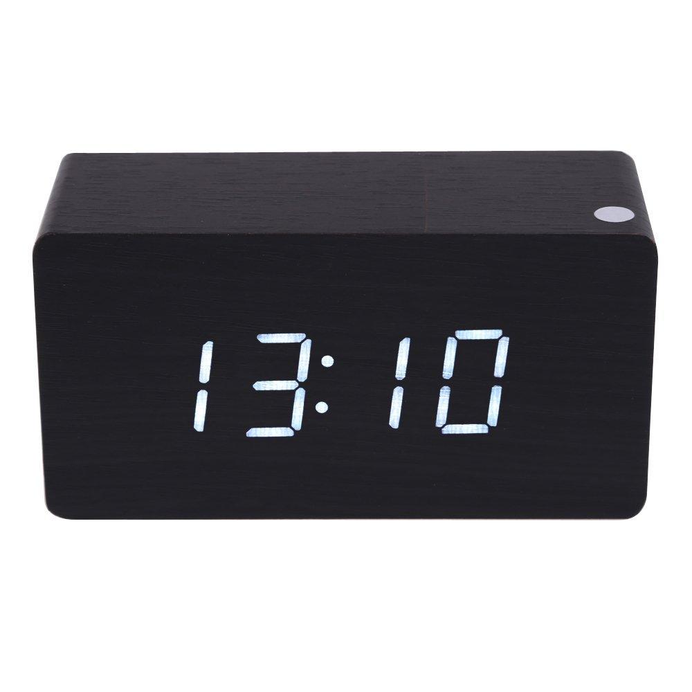 holz design wecker digital led kalendar thermometer schwarz weiss licht et. Black Bedroom Furniture Sets. Home Design Ideas