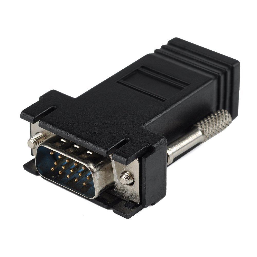 neu schwarz vga extender adapter cat5 cat6 rj45 kabel. Black Bedroom Furniture Sets. Home Design Ideas