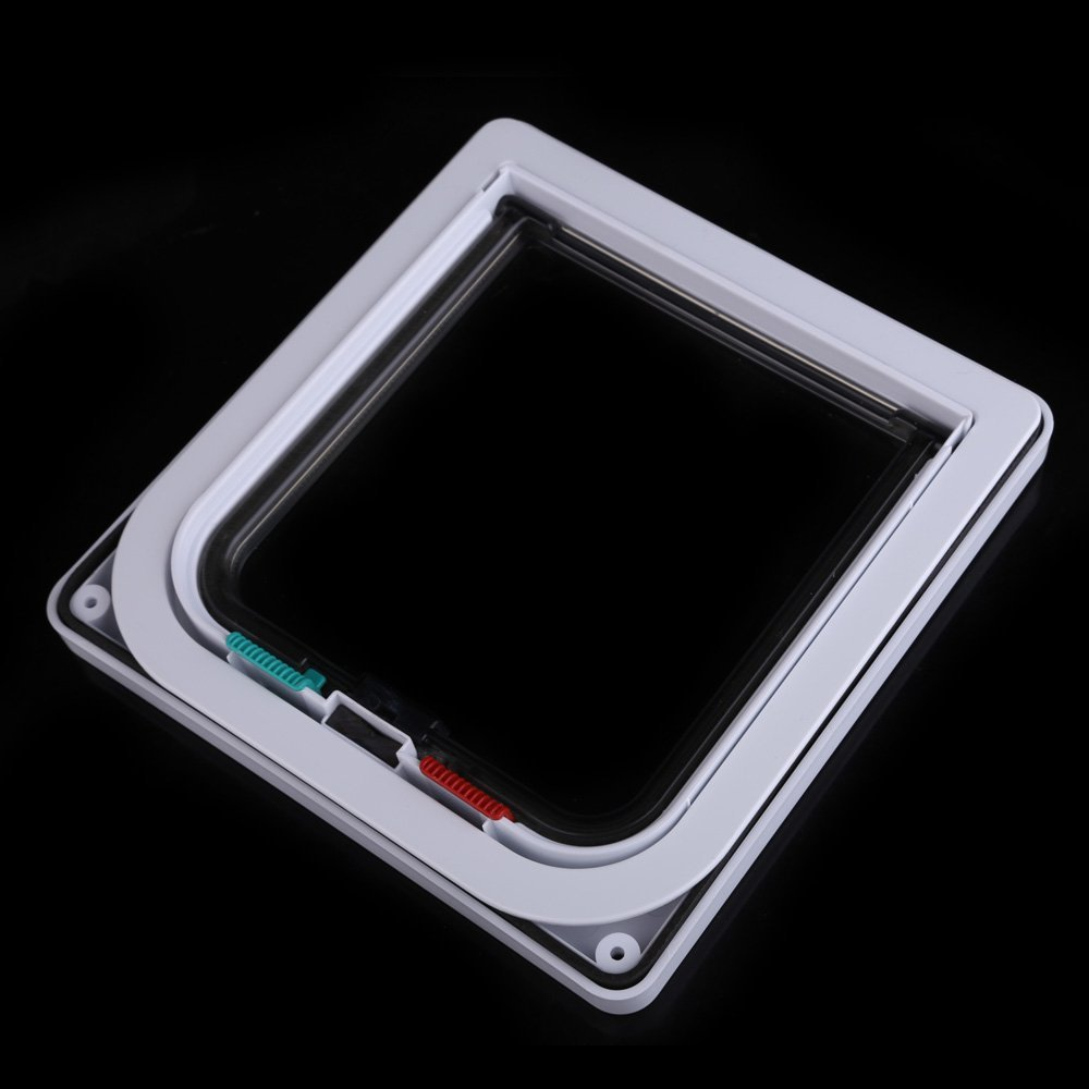 Porte verrouillable Rabat assurance ABS 4 facons pour chiens chats (Blanc L)  WT 3
