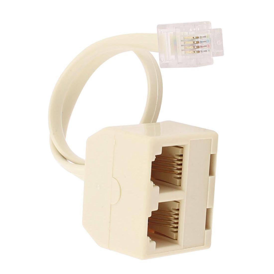 rj11 6p4c 2 way outlet telephone jack line splitter. Black Bedroom Furniture Sets. Home Design Ideas