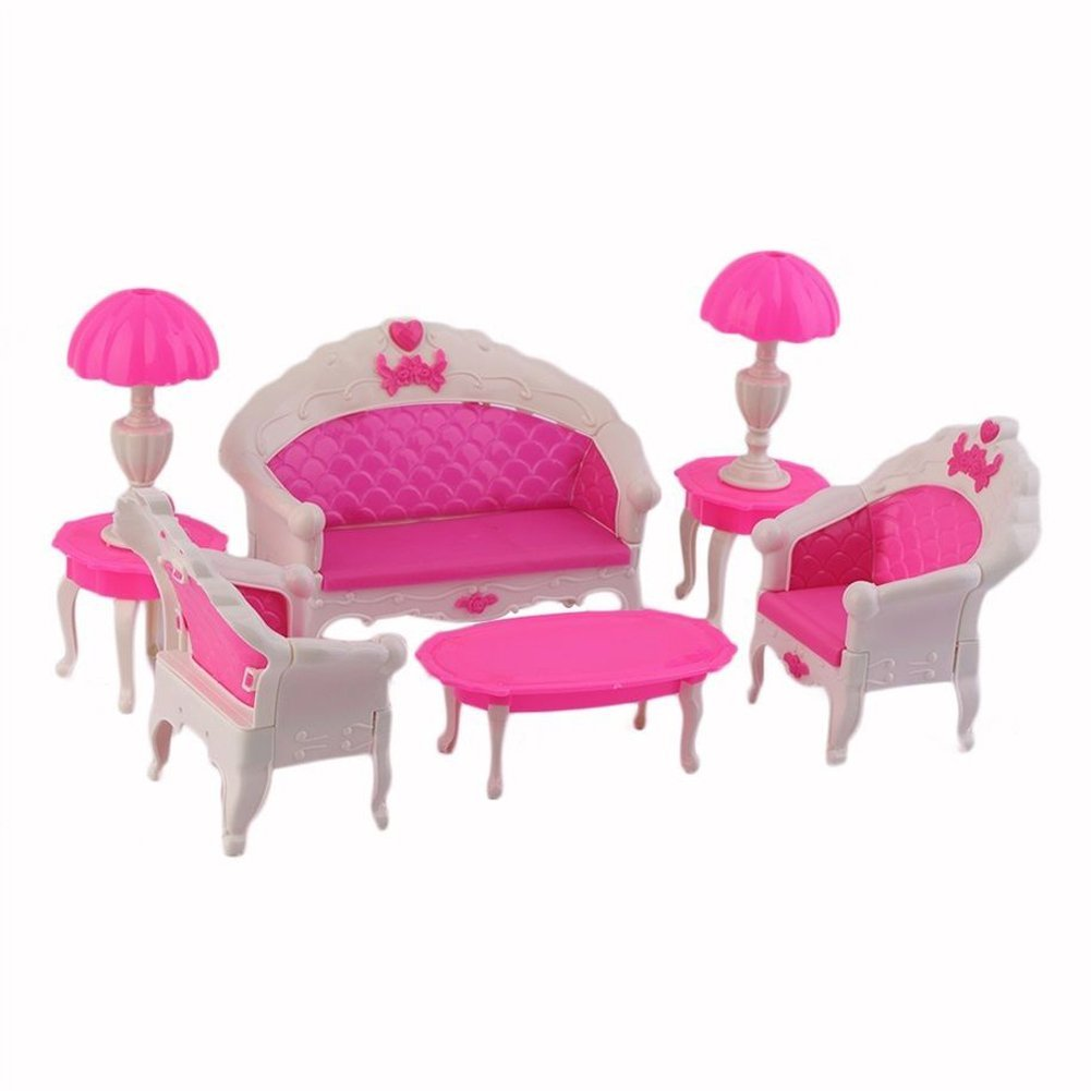 Sa 8pcs toys barbie doll sofa chair couch desk lamp for Imagenes de sofas