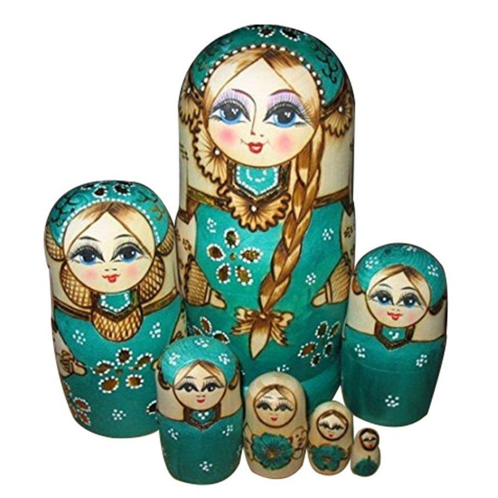 7pcs Wooden Russian Nesting Dolls Braid Girl Traditional Matryoshka Wishing ED | eBay