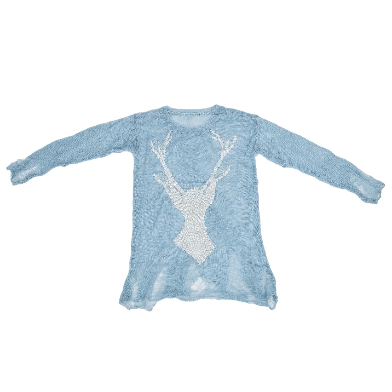 5X Women Sweater Knit Jumper Top Deer Hollow Holes Long Sleeve  T3Y6