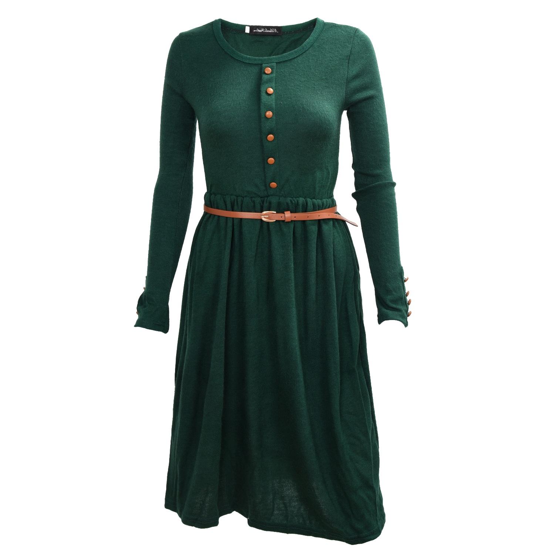 damen kleid kleider damenkleid langarm tailliert basic maxikleid m. Black Bedroom Furniture Sets. Home Design Ideas