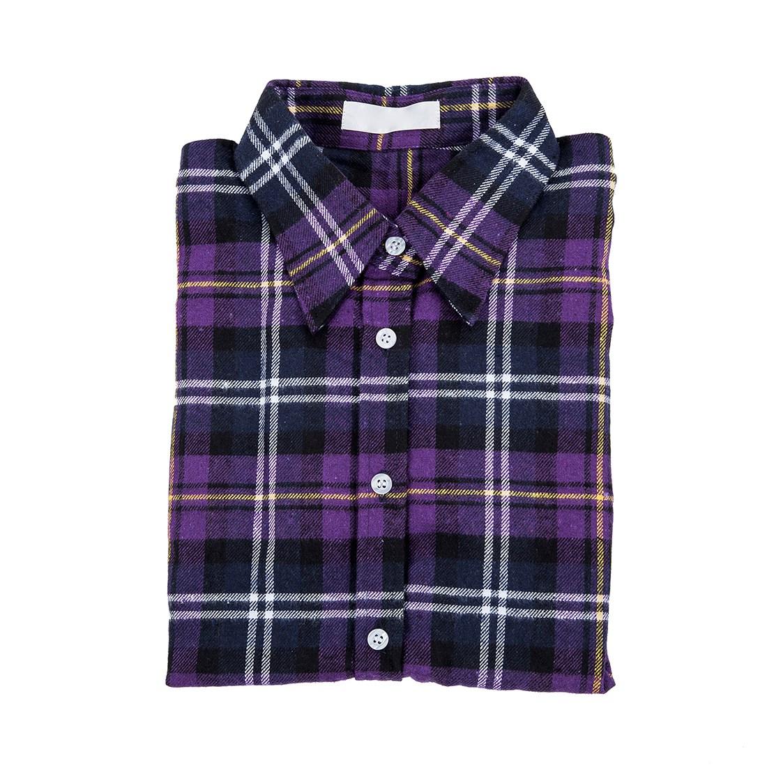 Womens shirt flannel shirts tops blouse purple white m for White and black flannel shirt womens