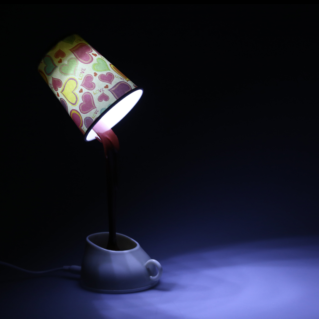 novelty diy led table lamp home romantic pour coffee usb. Black Bedroom Furniture Sets. Home Design Ideas