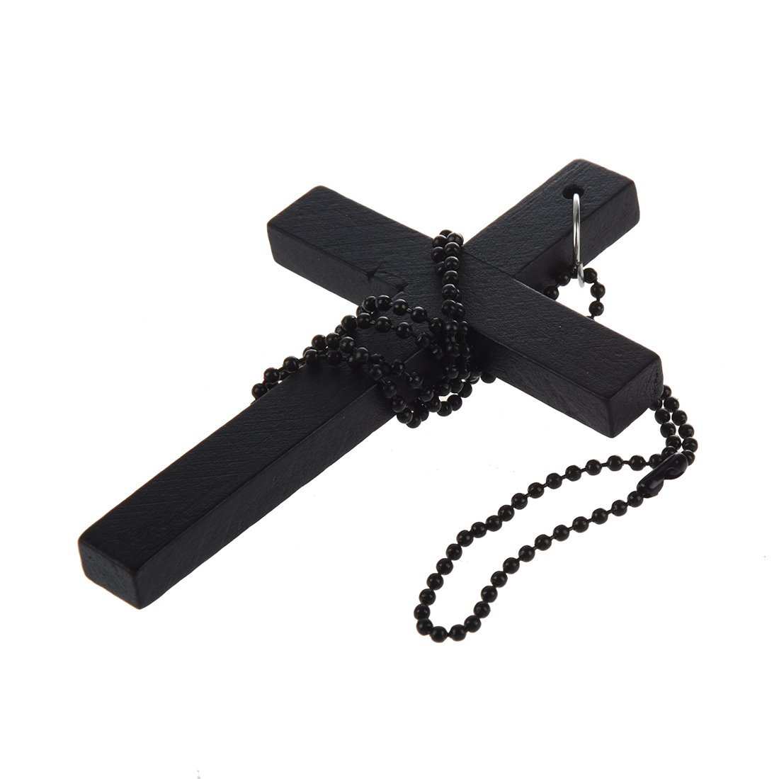 10x(Metal Beaded Chain Wooden Cross Pendant Necklace Black L3
