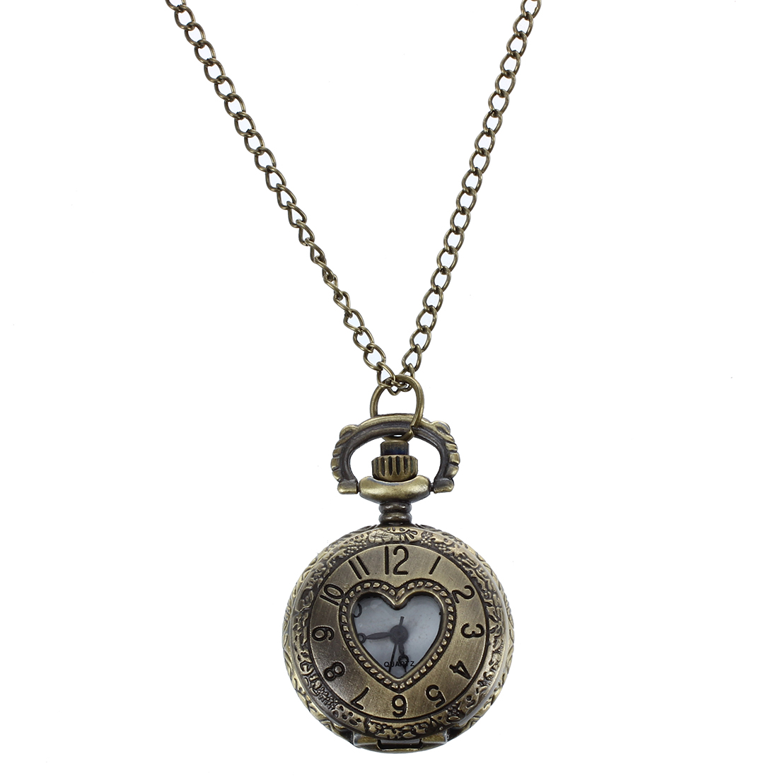 New Cut Out Heart Hunter Case Necklace Pocket Watch Bronze Tone For Ladies  l3