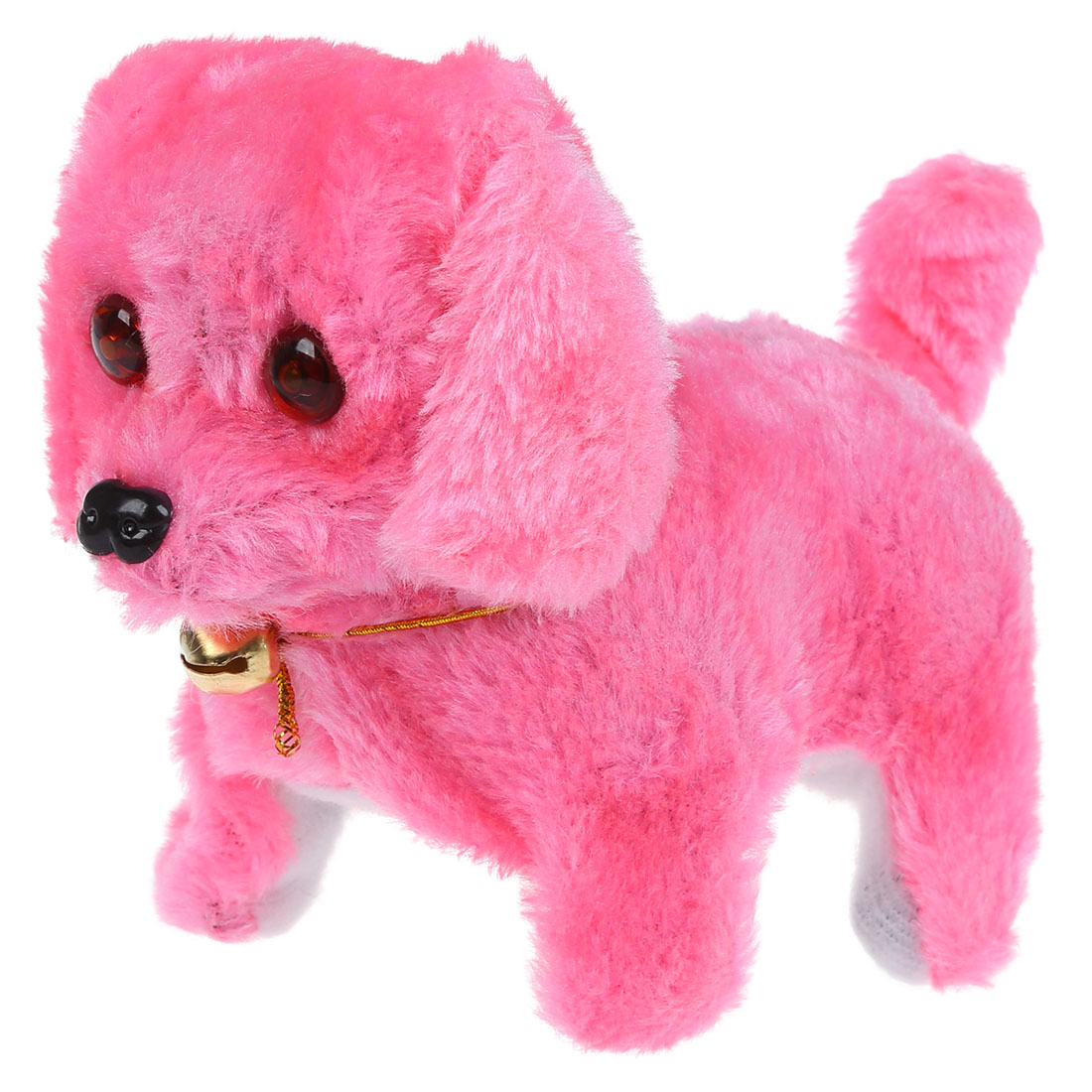 Pink Dog Toy : Sa pink plush neck bell walking barking electronic dog toy