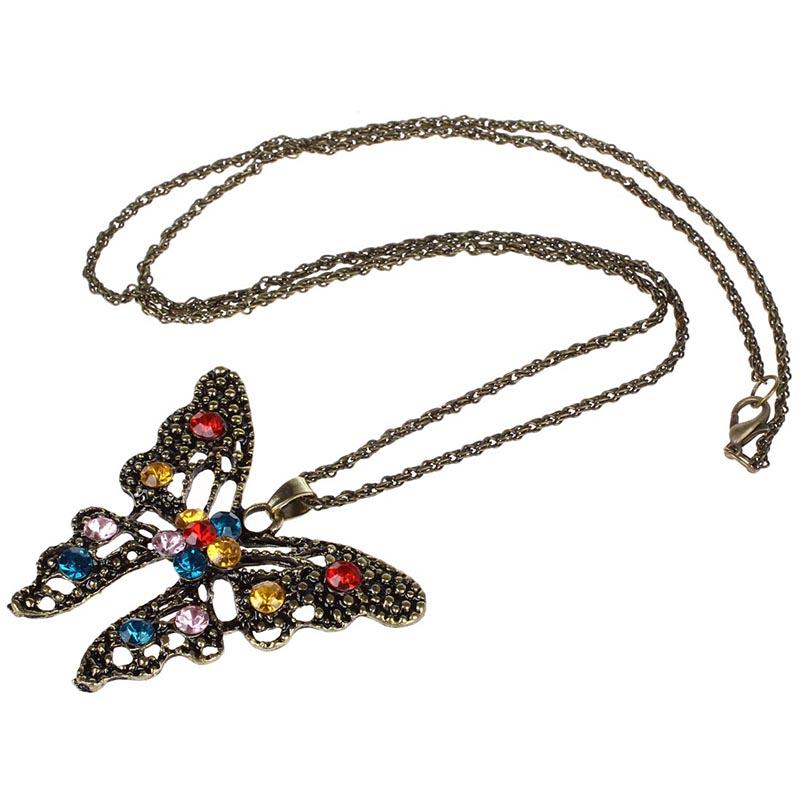 Bronze-schlanke-runde-Halskette-mit-hohlem-Schmetterling-Anhaenger-mit-Strass