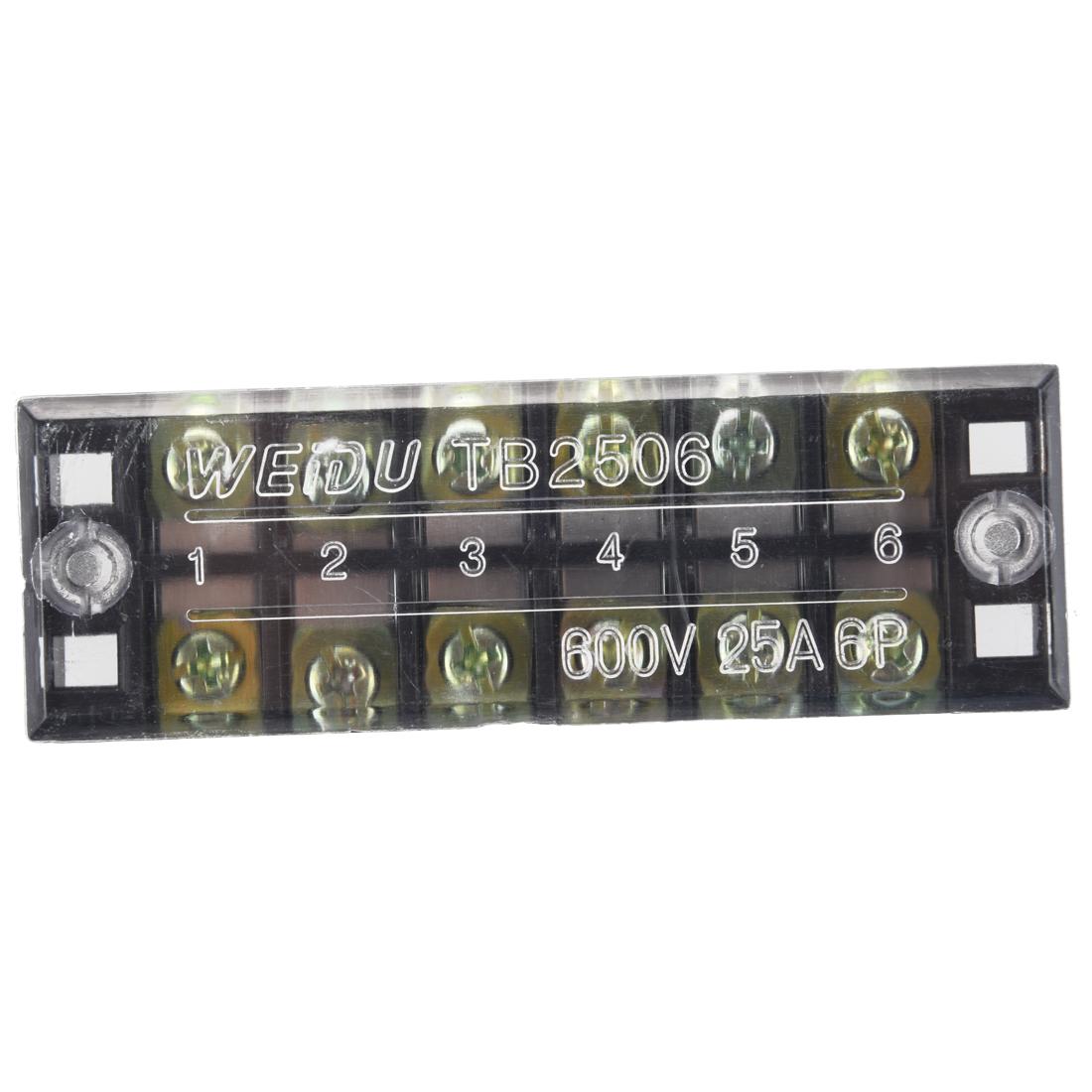 25A-6-poliger-Zweireihig-Schraubklemmenblock-Abschottung-Block-F6C7