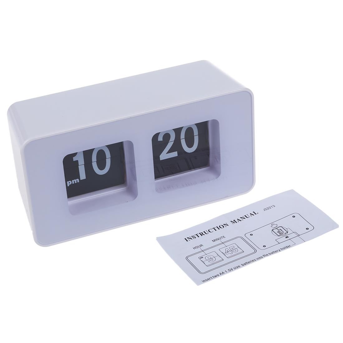 White Unique Retro Auto Flip Clock Cube Desk Table Wall