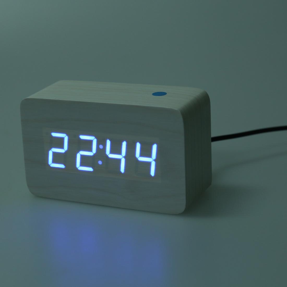 modern wooden wood usb digital blue led alarm clock