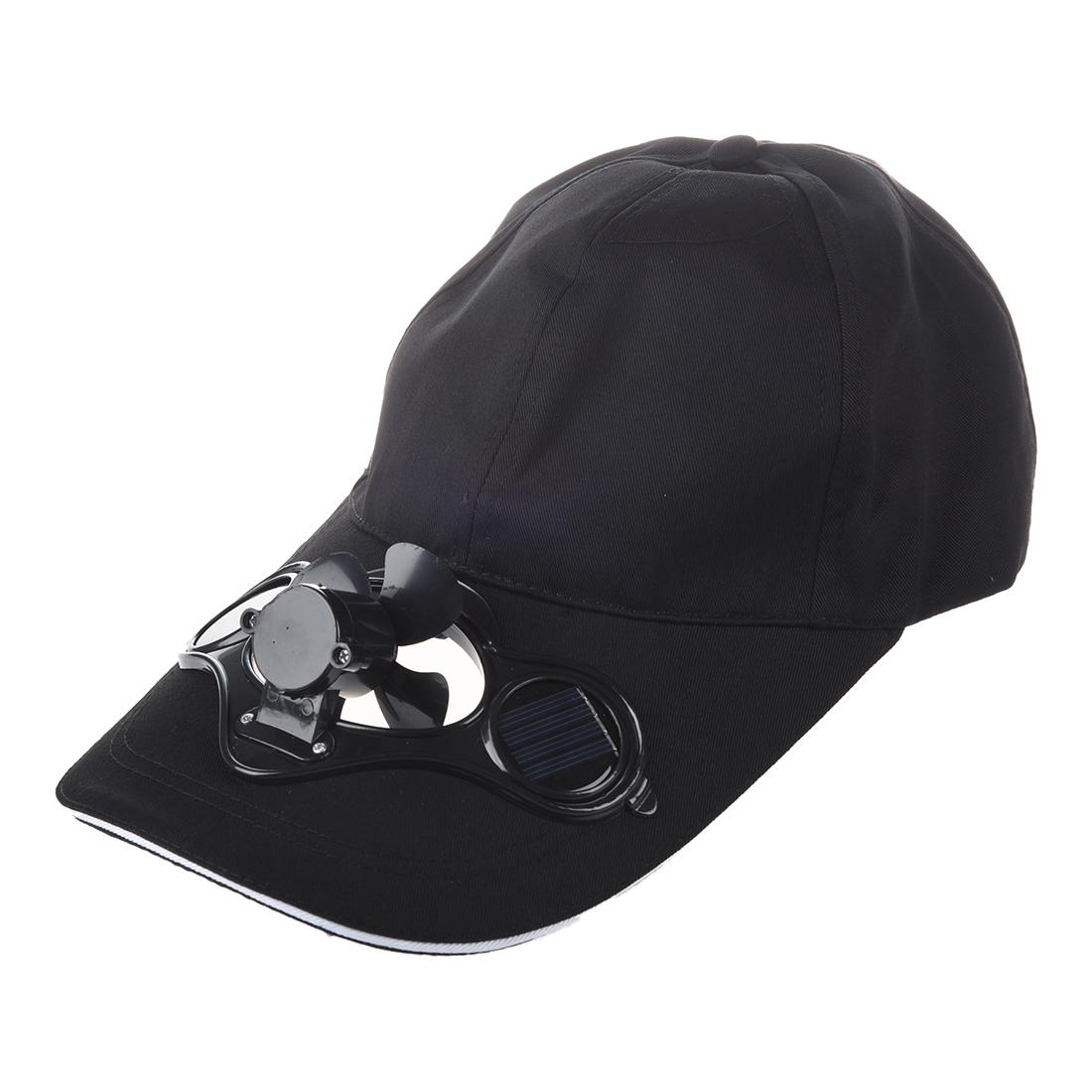 Solar Sun Power Hat Cap Cooling Cool Fan Black Y4o8