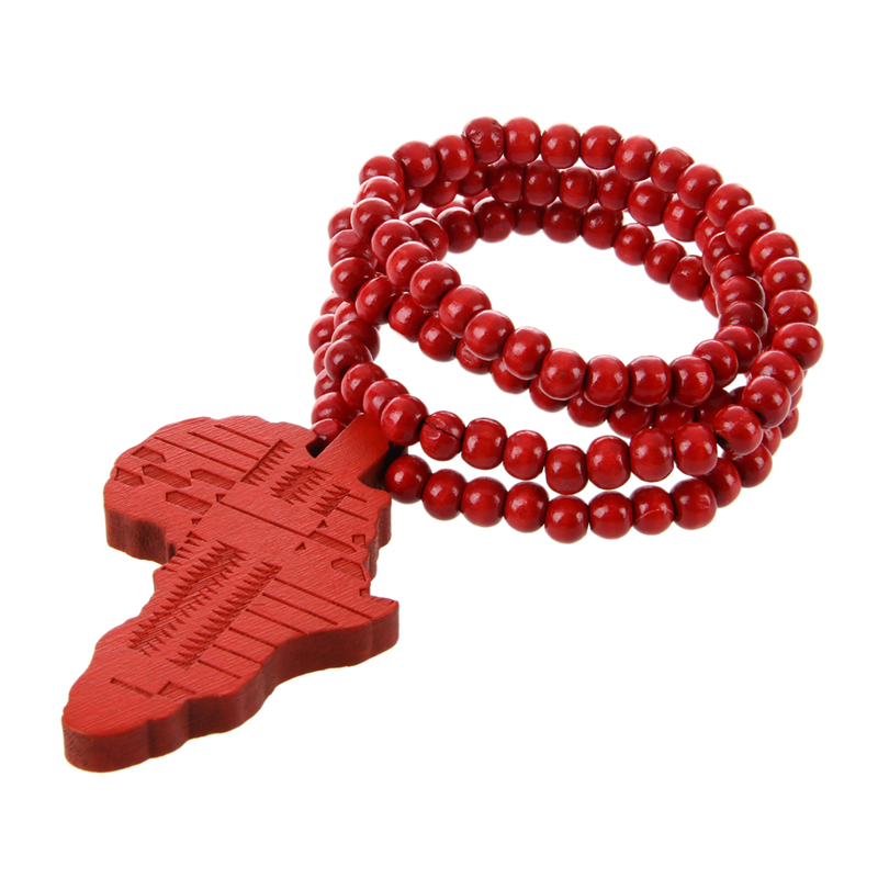 Africa map shaped pendant wooden beads chain necklace red y9n9 ebay image is loading africa map shaped pendant wooden beads chain necklace aloadofball Choice Image