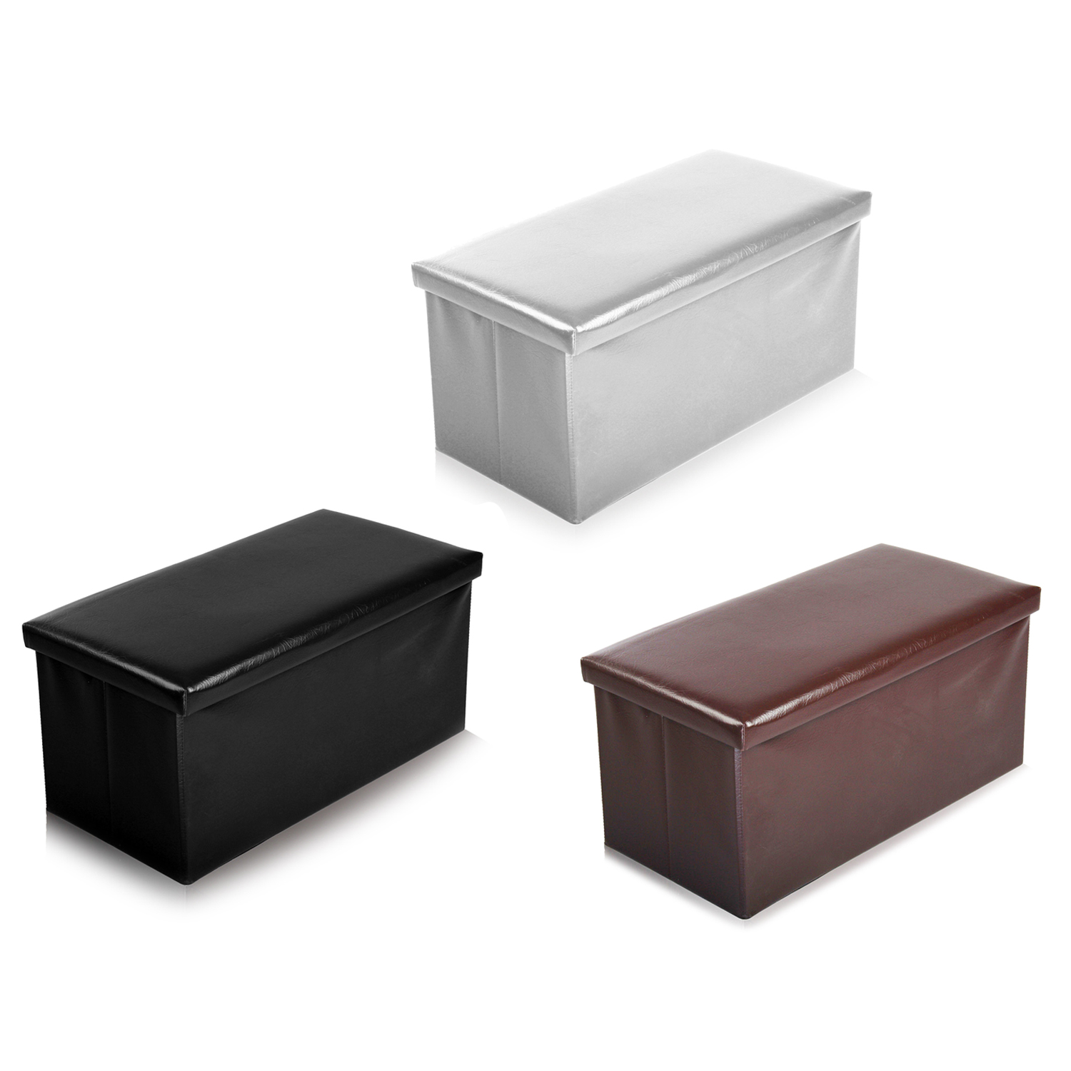 2 seater large faux leather seat stool folding storage box. Black Bedroom Furniture Sets. Home Design Ideas