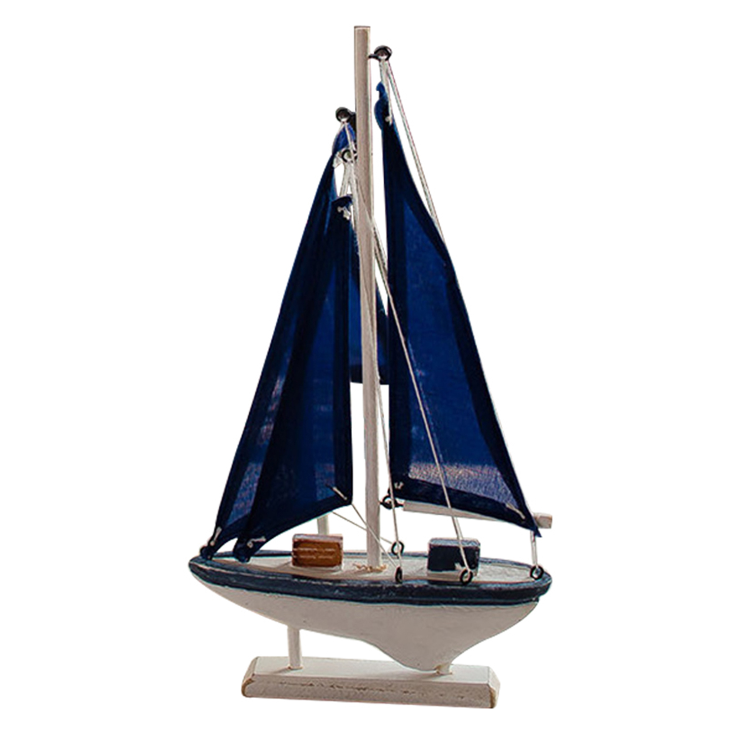 Miniaturemarine wood boat blue wooden sailing ship for Ship decor home