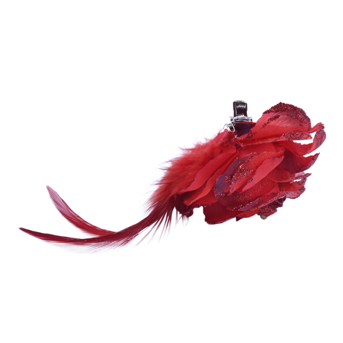 Rot-Organza-Rose-Feder-Brosche-Haarklammer-Haarspange-TOP-O3F9-G1Z1