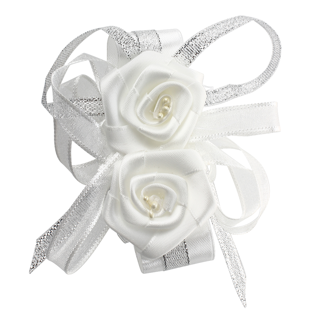 5X(1?rist Corsage Flower Wedding Party Prom--White T8