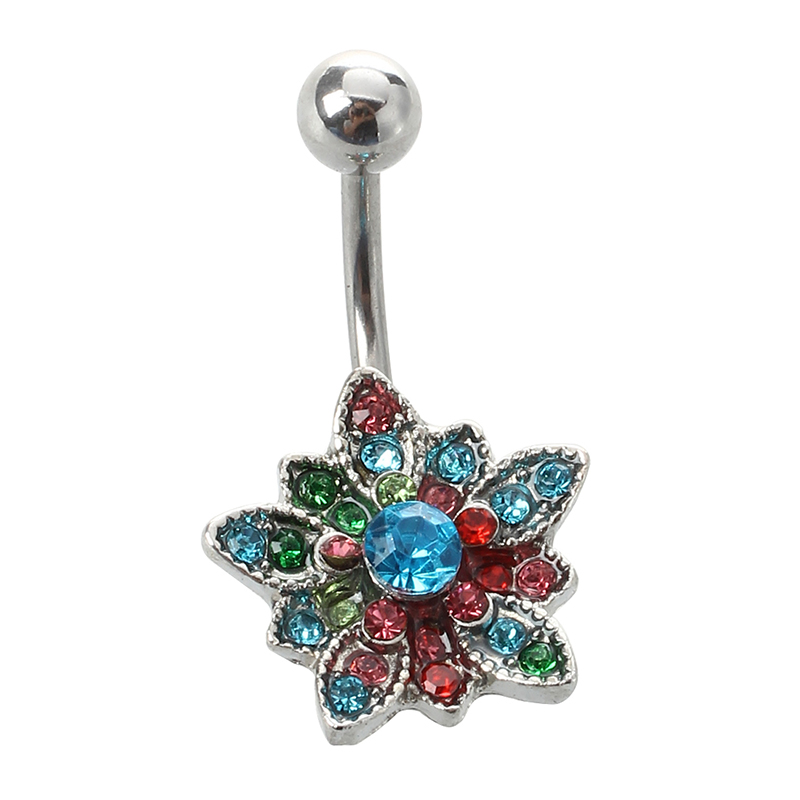 BELLY PIERCING SURGICAL STEEL 316L IN FLOWER STRASS I8X7