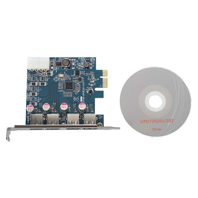 USB 3.0 4-Port PCI-Express PCI E-Karte Super Speed 5 Gbps mit 4 Pin Power A B2I9