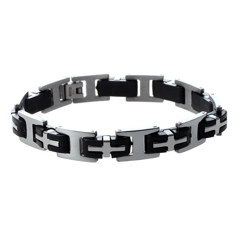 12mm-Herren-Edelstahl-Armband-Kreuz-Armkette-Armreif-TOP