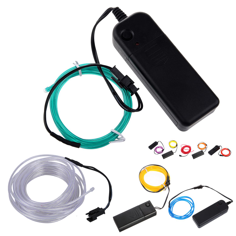 Orange Flexible EL Wire Neon Light 3M Dance Party Decor+Controller ...