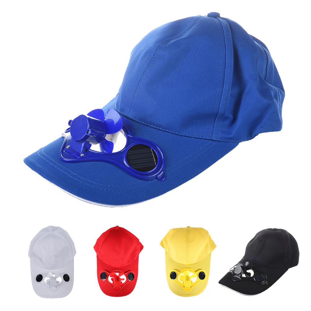 Solar Sun Power Hat Cap Cooling Cool Fan Black Y2w9 Ebay