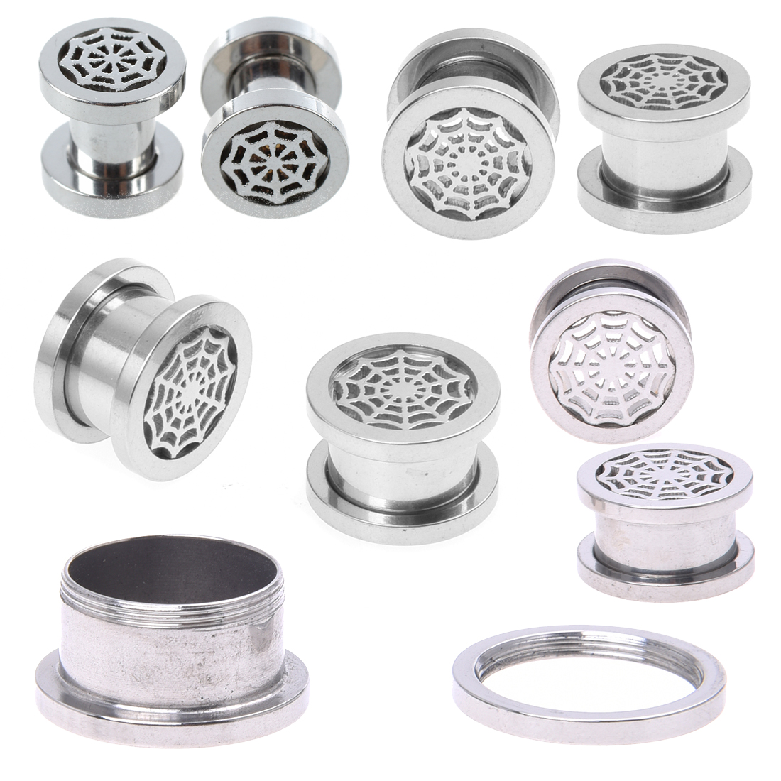 Spider-web-Screw-Fit-Steel-Ear-Plugs-Gauges-Ring-TUNNEL-Piercing-Jewelry-P2E3